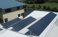 REC solar panels installed on tilt framing by Gold Coast Solar Power Solutions