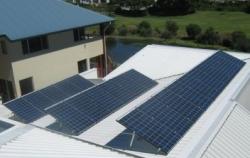 REC solar panels installed on tilt framing by Gold Coast Solar Power Solutions