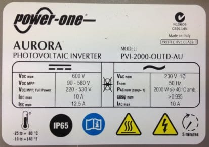 Aurora 2kW inverter data plate - any additional solar panels connected to this inverter must keep the system within these parameters