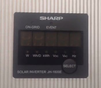 Blank screen on Sharp JH1600E solar inverter